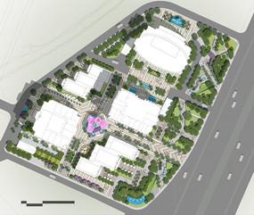 现代商业区景观设计平面图素材