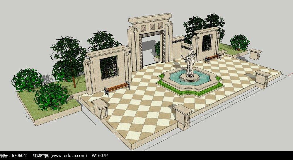 小区欧式景墙雕塑喷泉su模型图片图片