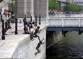 下水人物雕塑小品
