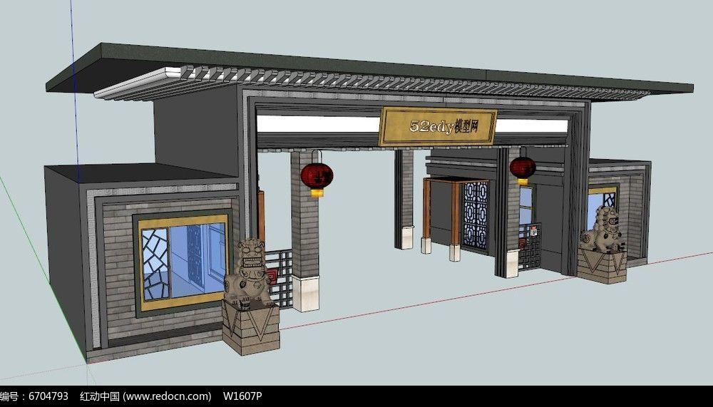 中式大门入口su模型图片图片