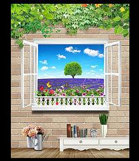 窗外风景背景墙