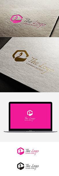 粉色女性时尚天鹅造型简约logo