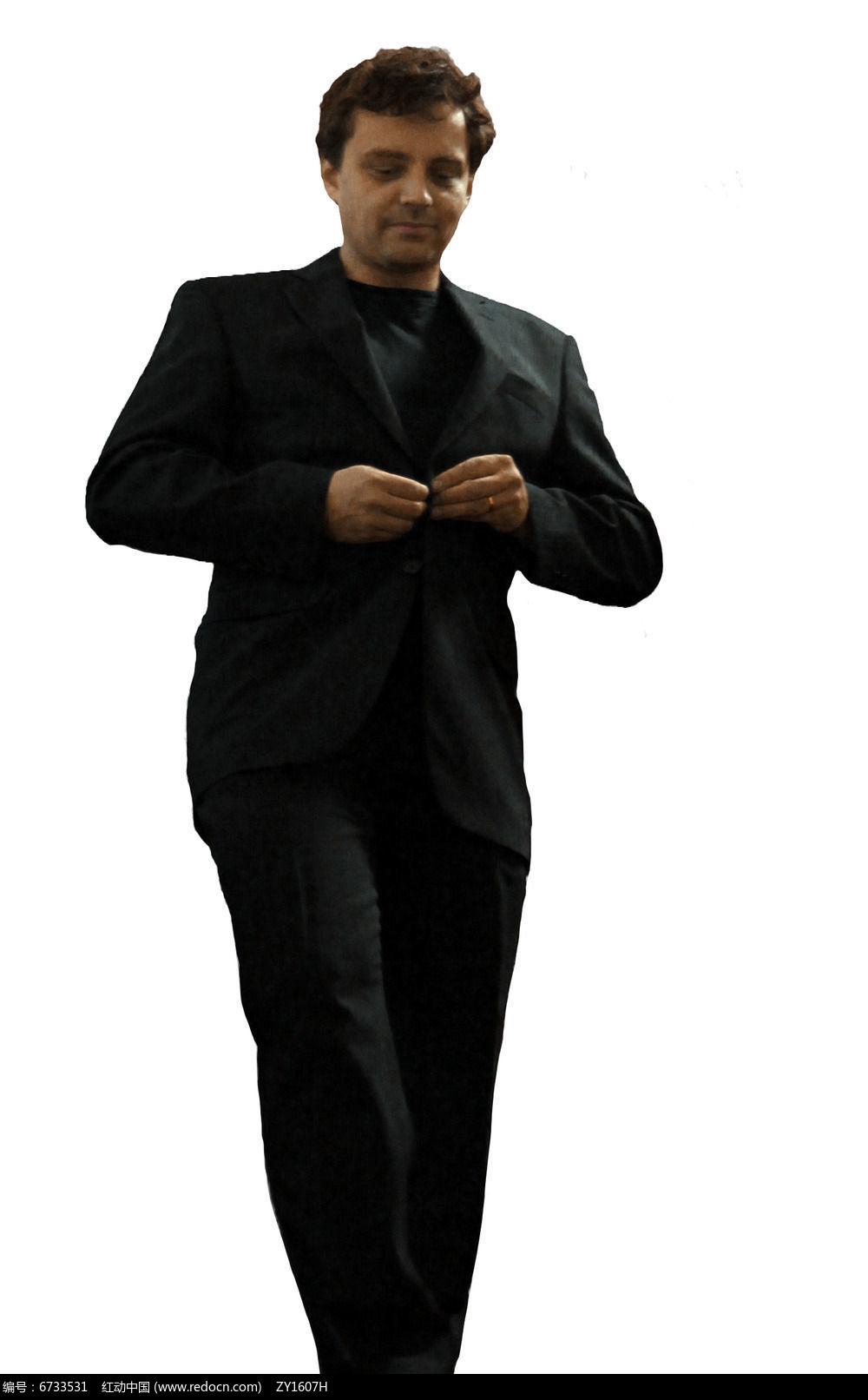 西装男背影手绘