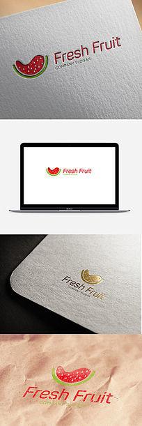 红色大西瓜卡通造型logo设计