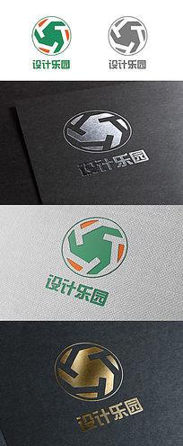 简约大气商会商业字母镂空旋转重复logo