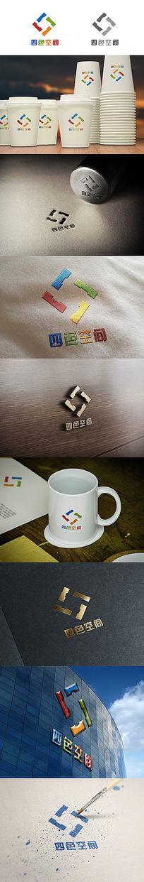 简约四色矩形组合商业Logo可修改