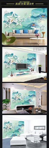 兰花3D立体电视背景墙