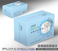 蓝色化妆品包装盒平面展开设计图片
