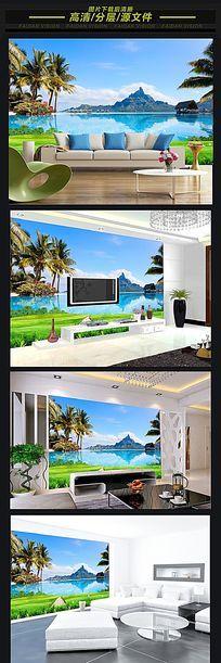 马尔代夫风景背景墙壁画