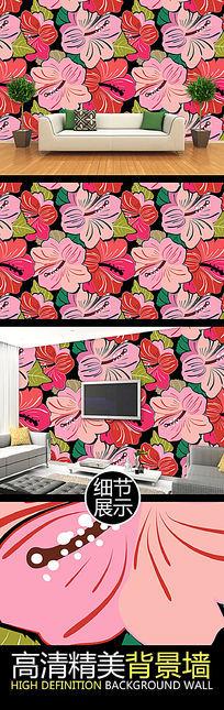艳丽花朵艺术装饰矢量背景墙