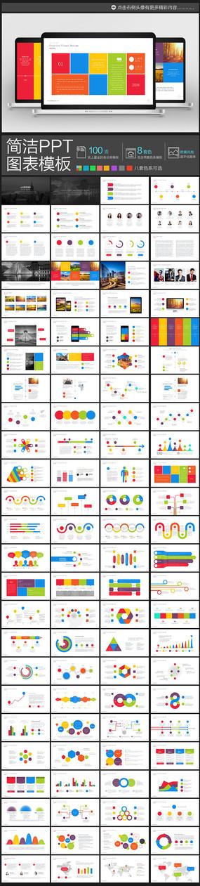 100页8套色超值欧美商务风格简约的ppt图表元素模板