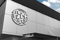 白色公司外墙大型企业LOGO标志展示样机