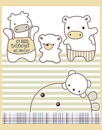 彩棉高端动物绣花图案