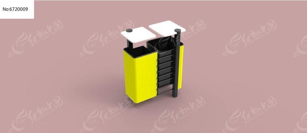 创意垃圾桶3d模型3ds素材下载