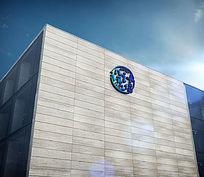 大型公司外墙LOGO标志展示样机 PSD