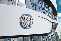 公司弧形外墙大型企业LOGO标志展示样机 PSD