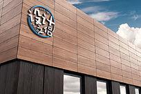 咖啡瓷砖公司外墙大型企业LOGO标志展示样机 PSD