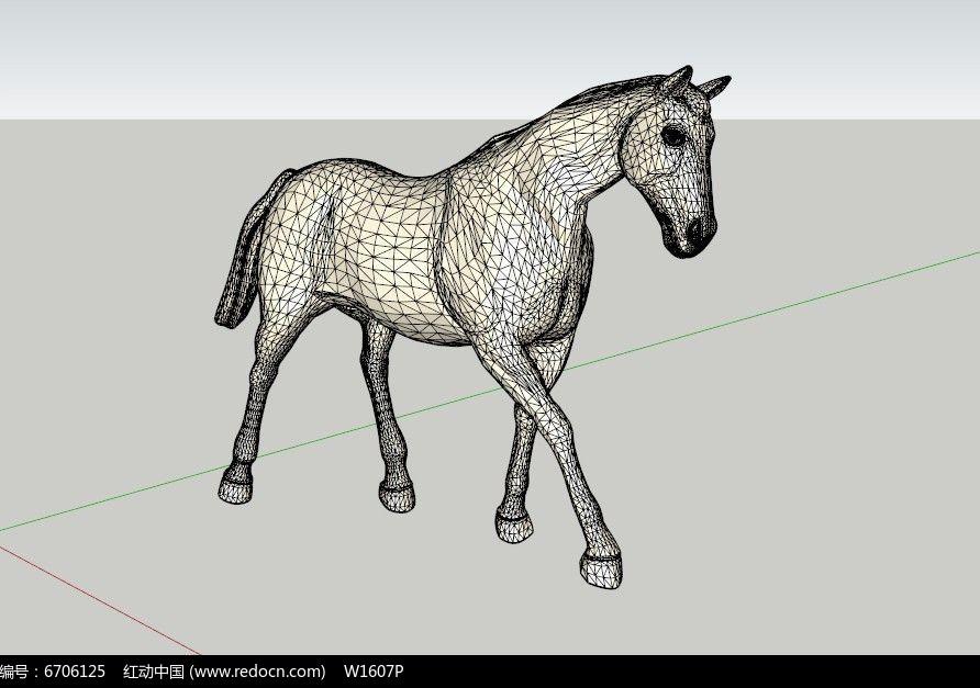 马的雕塑雕像su模型设计图片