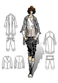 男装款式效果图 PSD