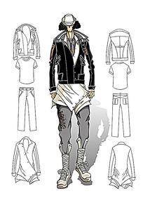 男装手绘效果图PSD高清图 PSD