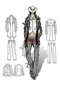 男装手绘效果图 PSD