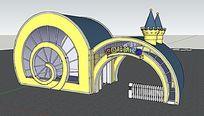欧式幼儿园大门的SU模型