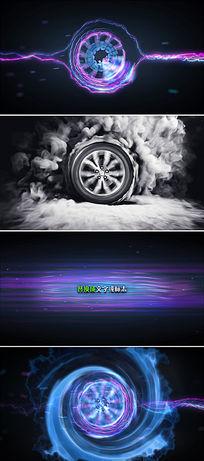 汽车轮胎旋转烟雾Logo标志开场片头模板