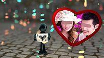 情人节卡通浪漫表白爱心相框展示AE模板