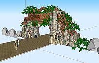 树形公园景观入口大门SU模型