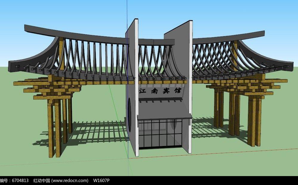 中式大门入口的su模型图片