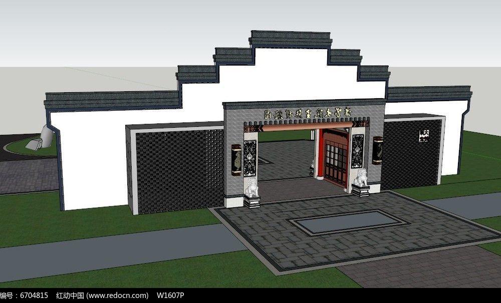 中式徽派大门入口及宣传栏su模型图片
