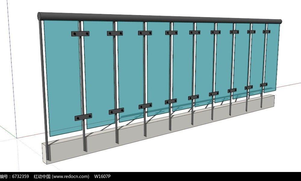 玻璃镶嵌护栏模型图片