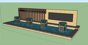 景观墙喷水池SU模型 skp