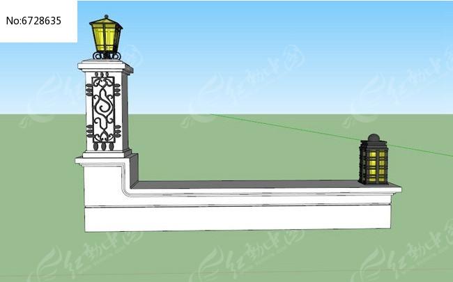 欧式单柱双灯矮围墙