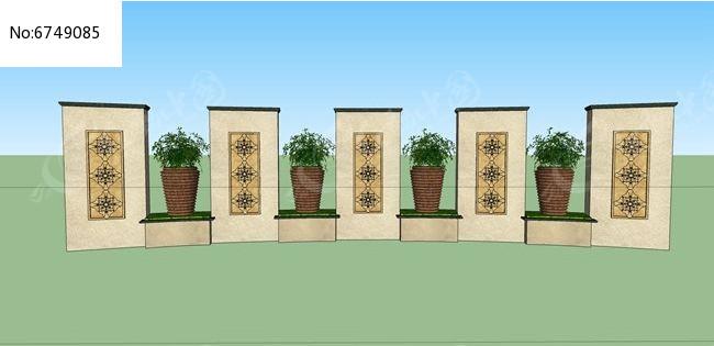 欧式花盆景墙图片