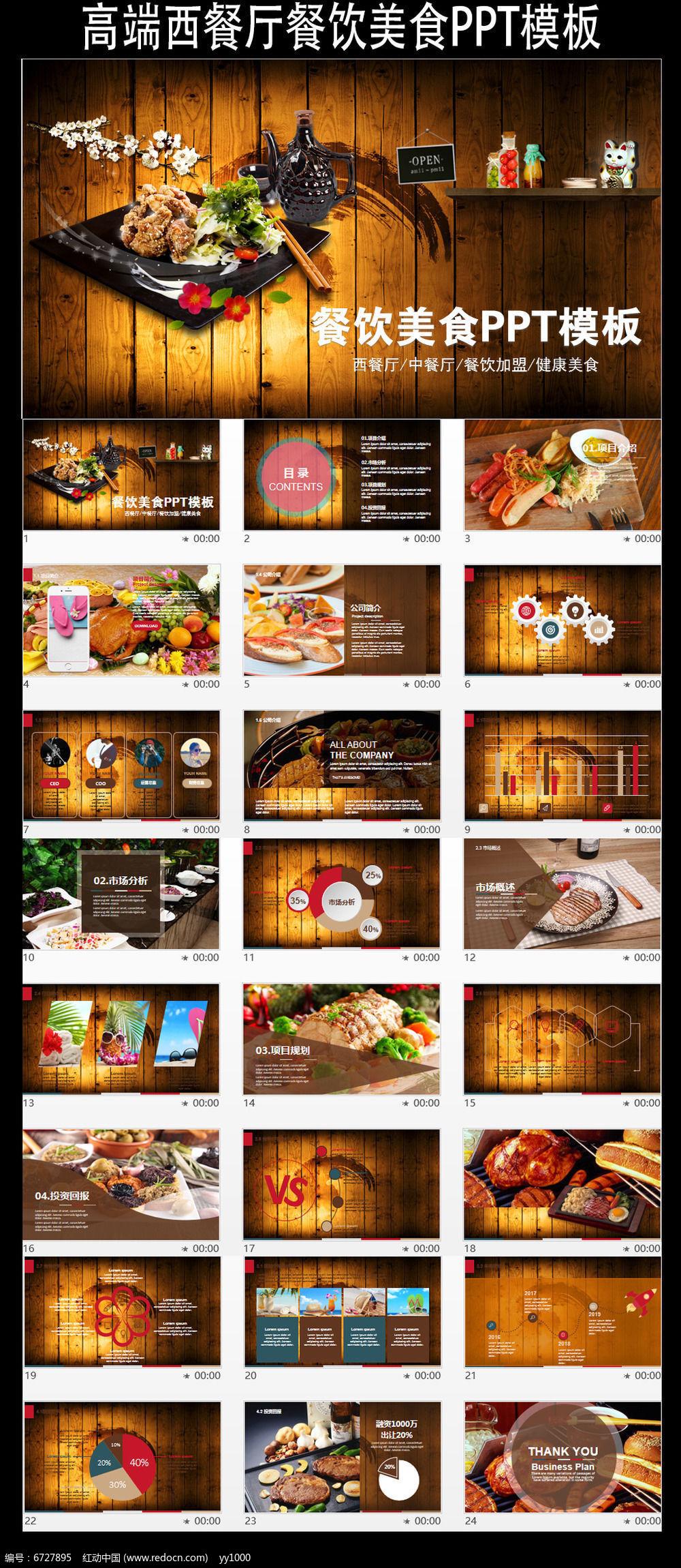 古典高端西餐厅餐饮美食ppt模板