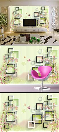 立体方块梦幻花卉3D电视背景墙