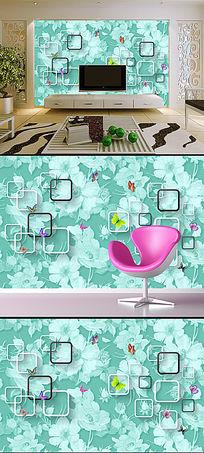 立体方框唯美玫瑰花卉3D电视背景墙