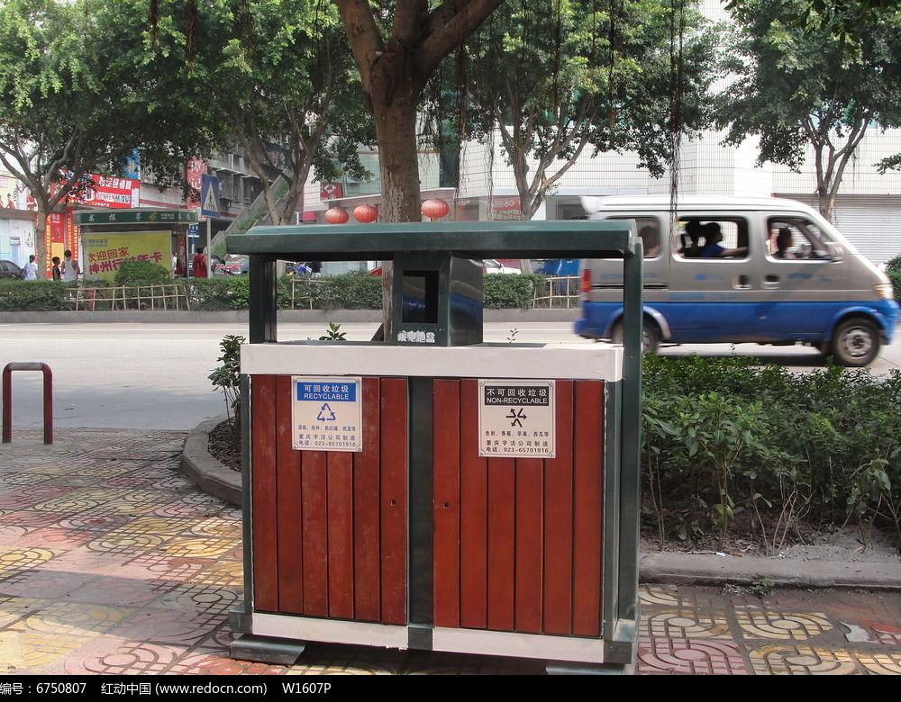 人行道常用固定垃圾桶jpg素材下载