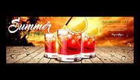 夏季甜品促销宣传海报PSD图片