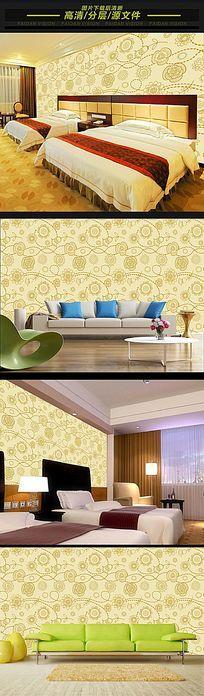 现代简约欧式手绘花纹墙纸背景墙