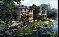 别墅后院水景效果图