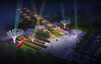 滨河广场夜景效果图