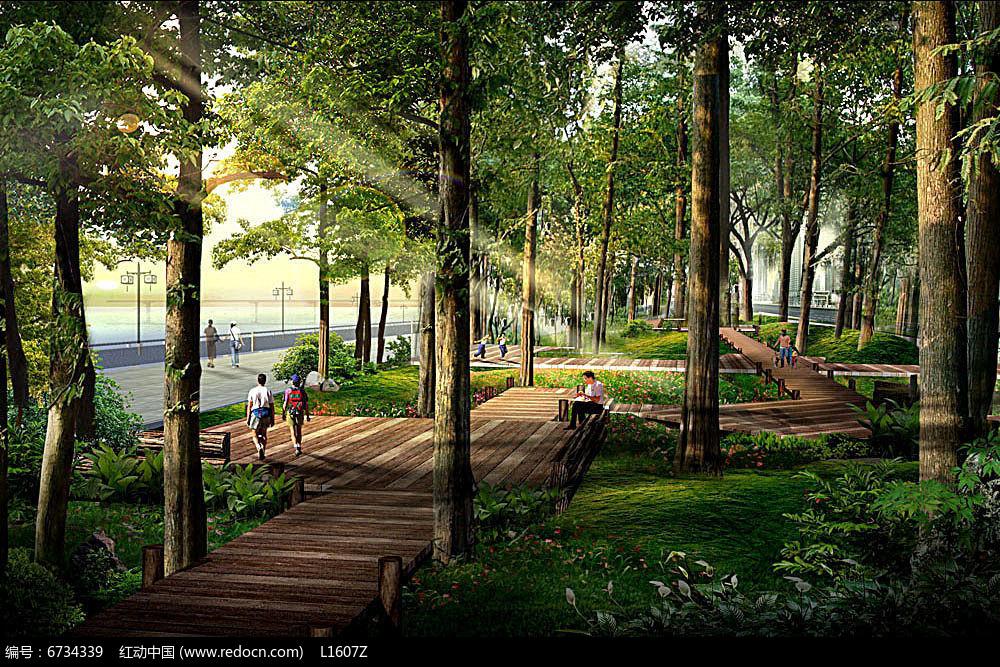 公园景观透视效果图jpg素材下载