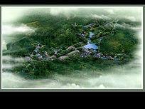 古典小镇河道景观效果图