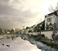 河道水景效果图 PSD