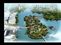 湖心岛景观设计鸟瞰图PSD