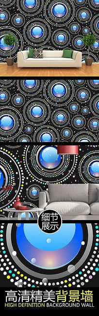 蓝色灿烂宝石艺术图案背景墙