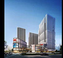 商业街建筑景观效果图 PSD