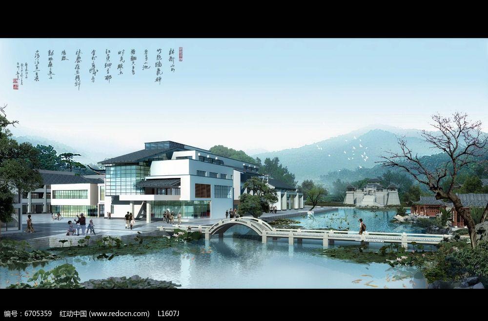 新中式元素景观设计效果图PSD图片